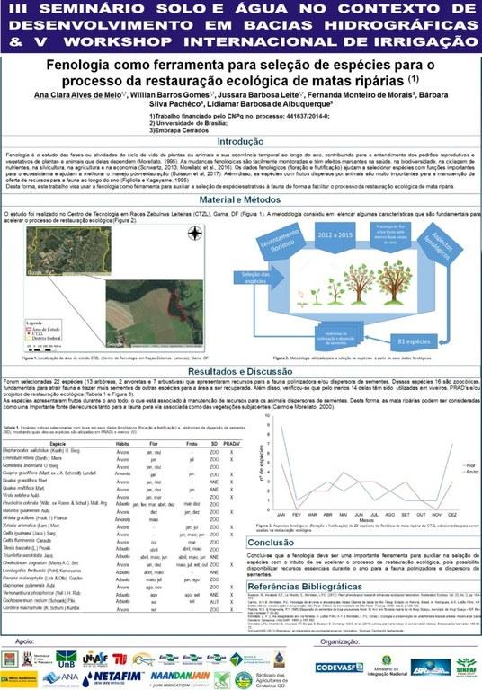 Fenologia como ferramenta para seleção de espécies para o processo da restauração ecológica de matas ripárias - Ana Clara Melo - Embrapa Cerrados.JPG