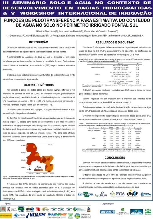 Funções de Pedotransferências para estimativa do conteúdo de água no solo no perímetro irrigado pontal sul - Géssica Silva Lima - Unesp.JPG