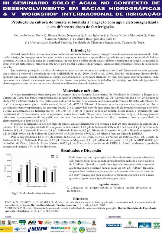 Produção da cultura do tomate submetida à irrigação com água eletromagnetizada e em diferentes doses de fetirrigação - Fernando Puttin - Unesp.JPG