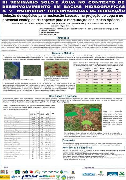Seleção de espécies para nucleação baseado na projeção de copa e no potencial ecológico da espécie para a restauração das matas ripárias - Lidiamar.JPG
