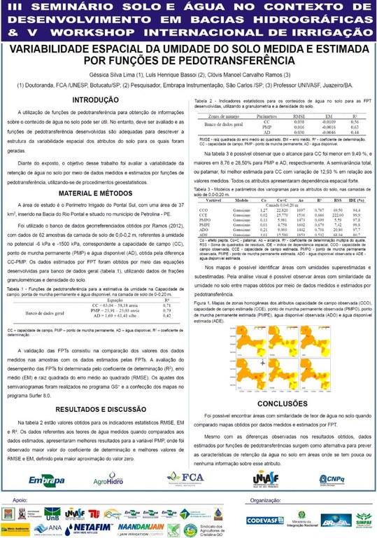 Variabilidade espacial da umidade do solo medida e estimada por funções de pedotransferência- Géssica Silva Lima - Unesp.JPG