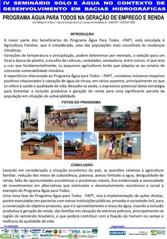 20 - Programa Água para Todos na geração de emprego e renda.JPG